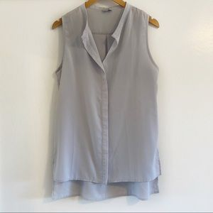Tobi Flowy Sleeveless Tunic Blouse M Ice Blue